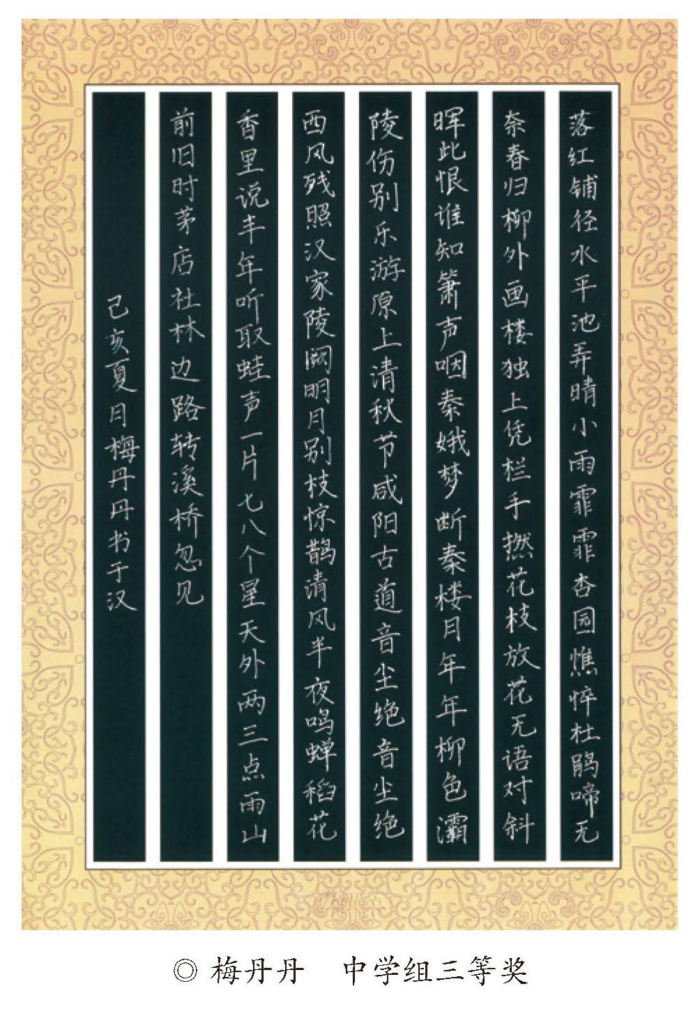 梅丹丹 中学组硬笔三等奖